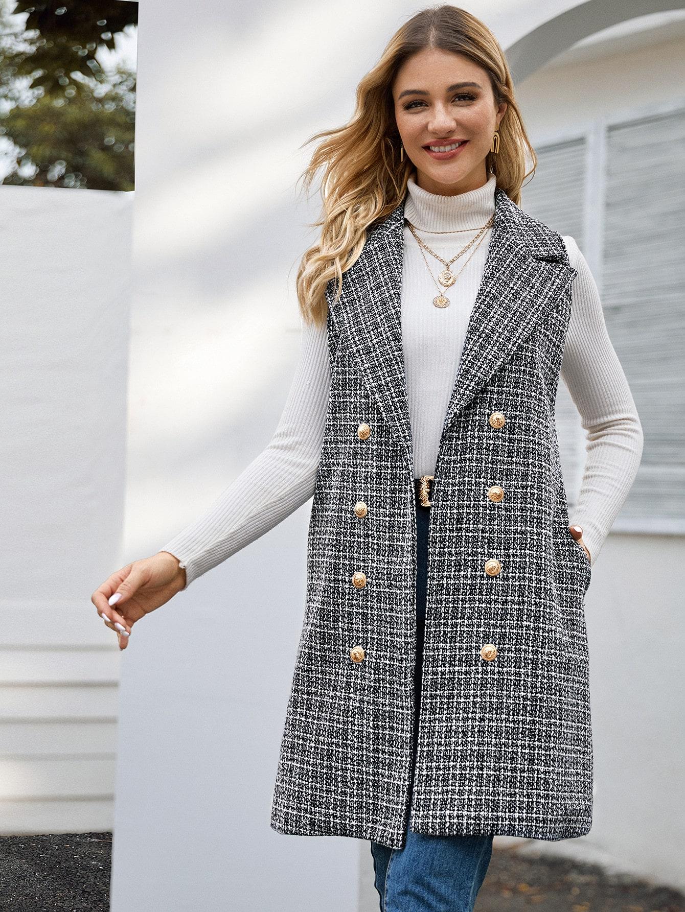 Двубортное твидовое пальто-жилет