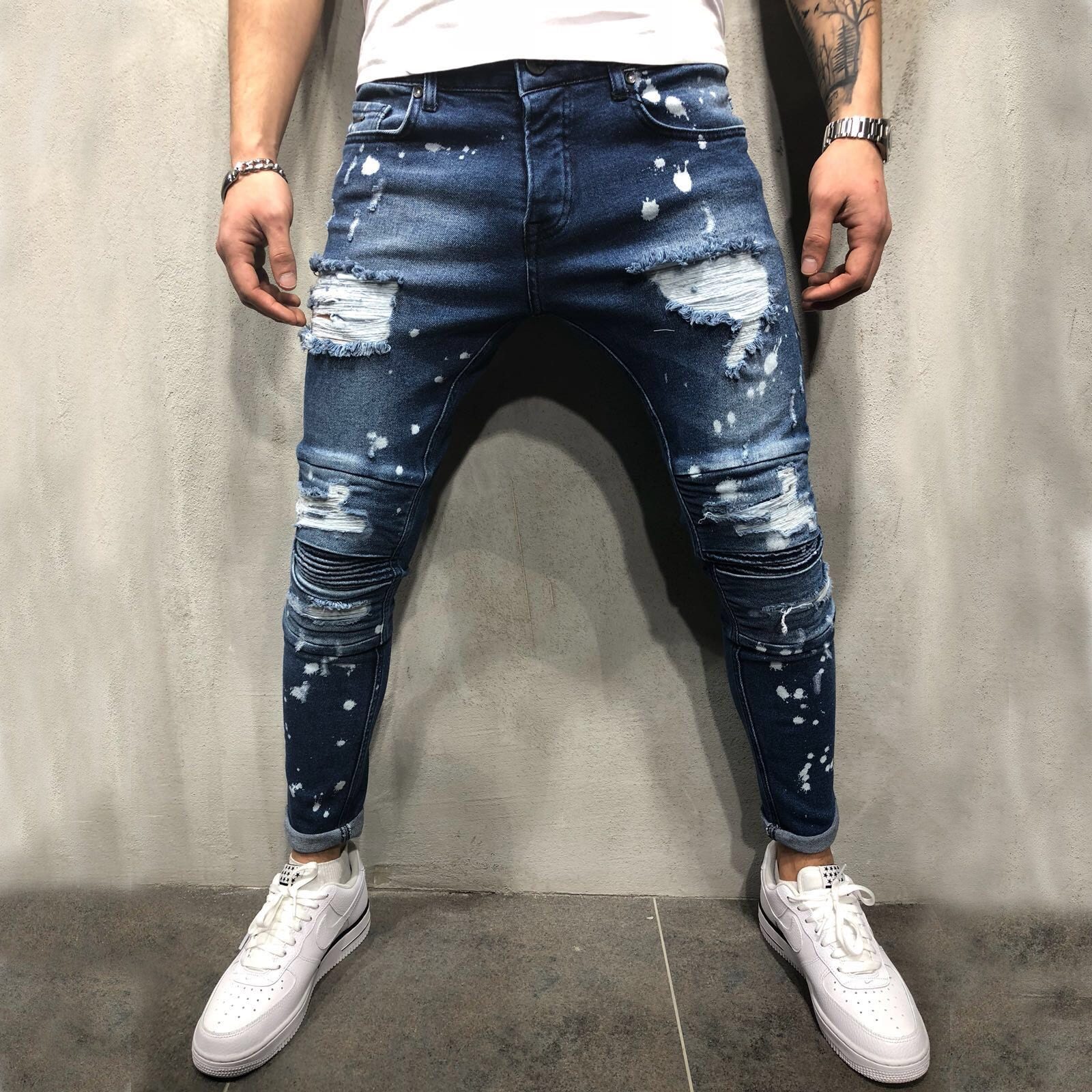 Marine Casual Heren Jeans Gescheurd