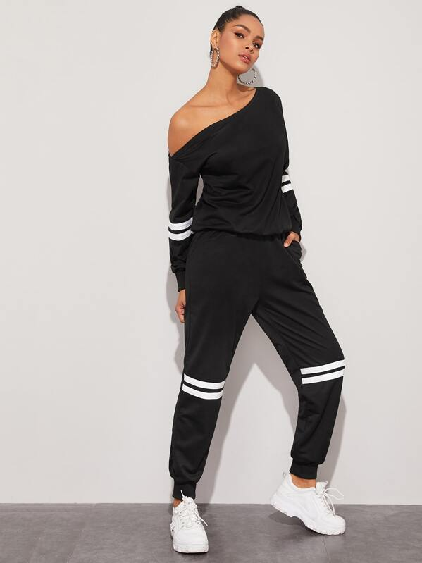 Contrast Tape Asymmetrical Neck Sweatshirt & Sweatpants, Black, Gigi