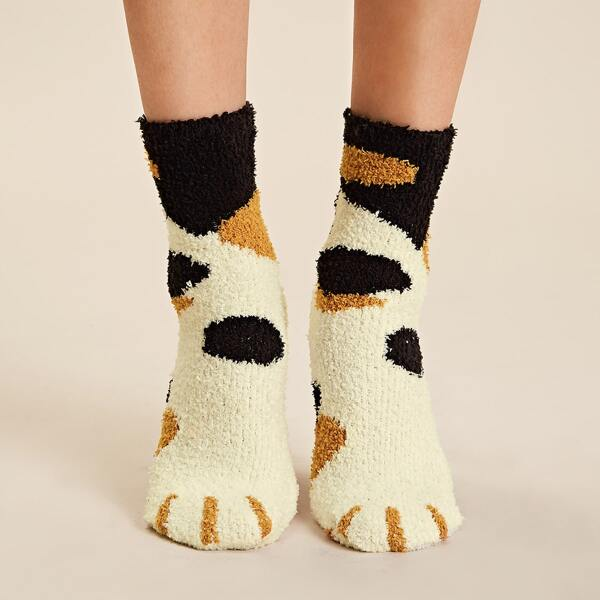 1pair Graphic Fluffy Socks, Multicolor