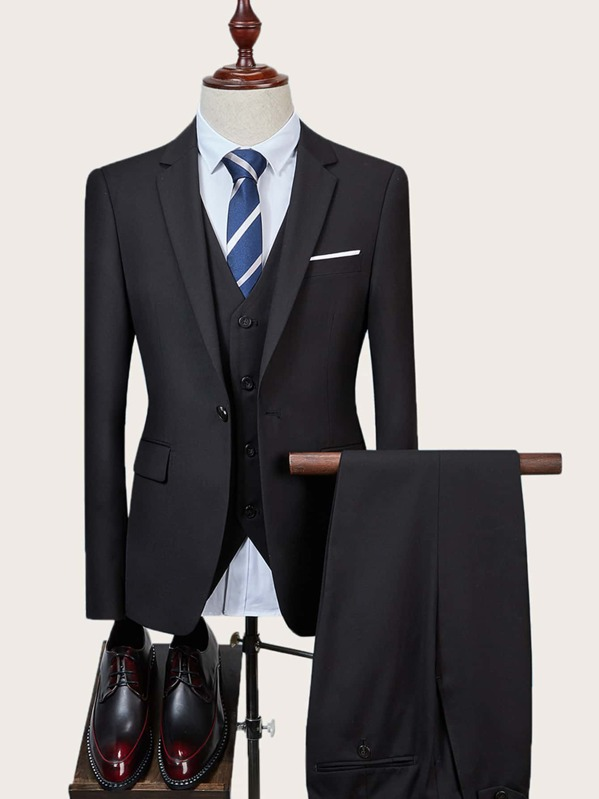 Men Single Button Blazer & Waistcoat & Dress Pants, Black