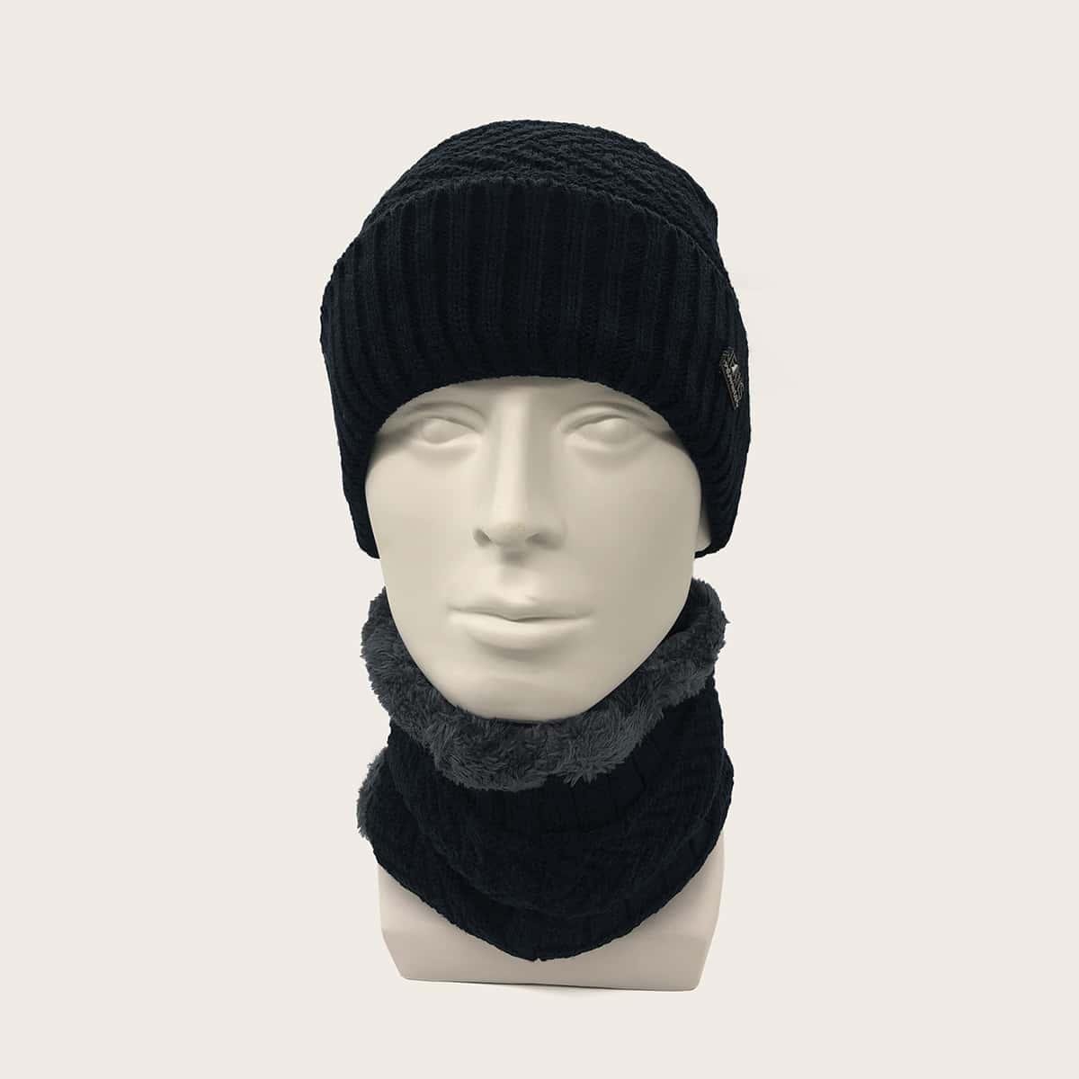 Мужской шарф-кольцо и вязаная шапка с текстовой заплатой 2шт от SHEIN