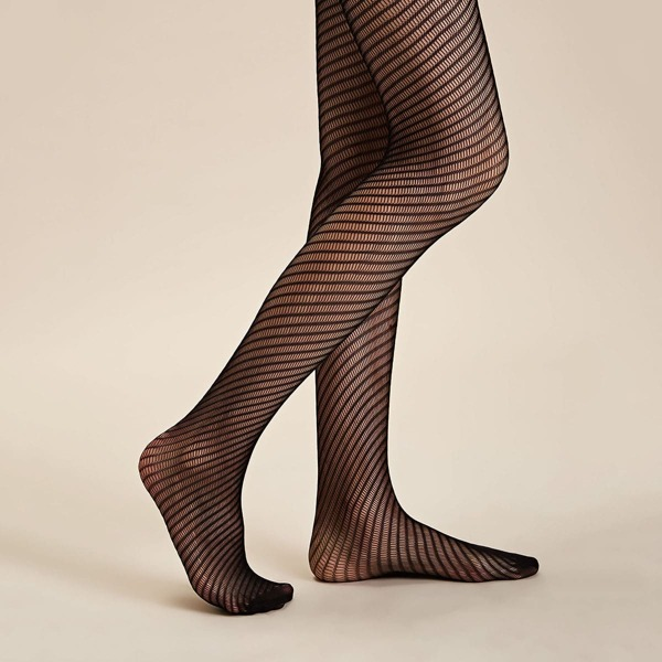 1pair Striped Mesh Hollow Out Long Stockings, Black