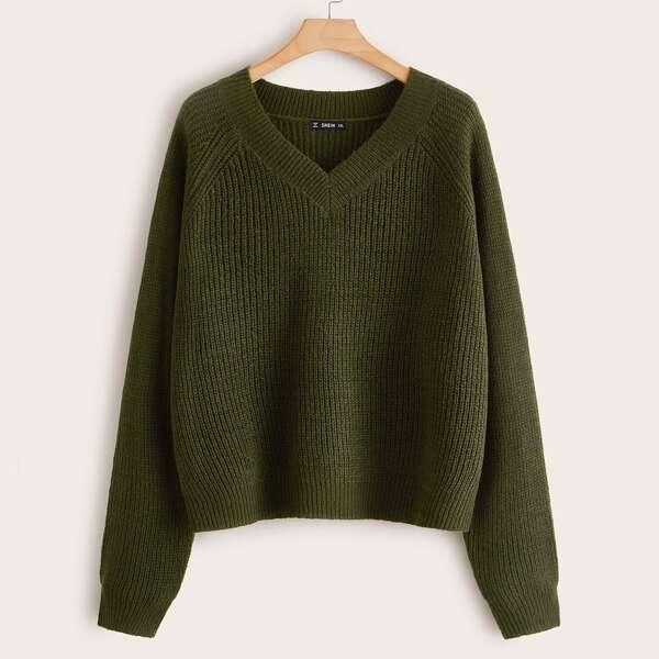 Plus Raglan Sleeve Ribbed Knit Sweater