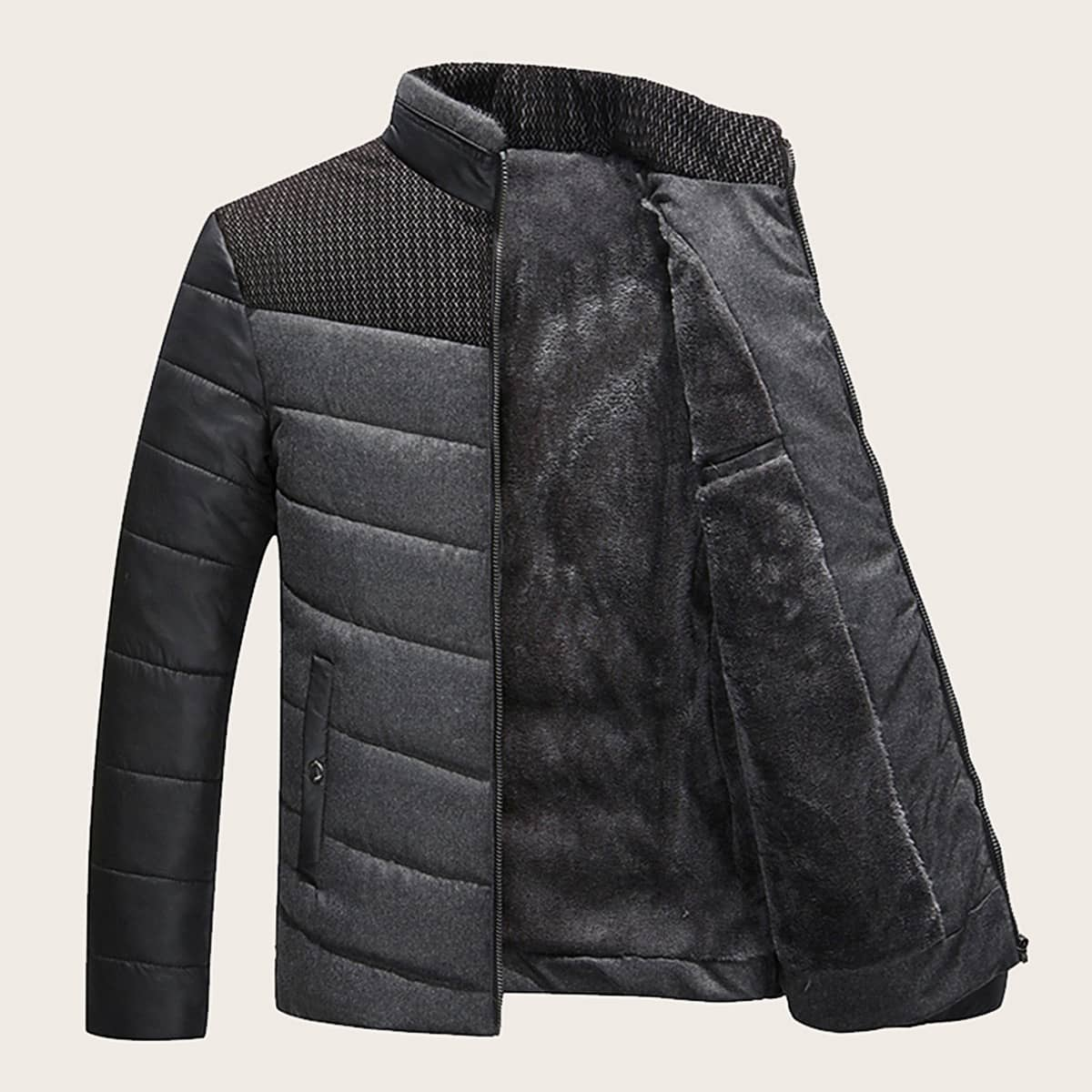 Men Contrast Panel Zip-up Padded Jacket