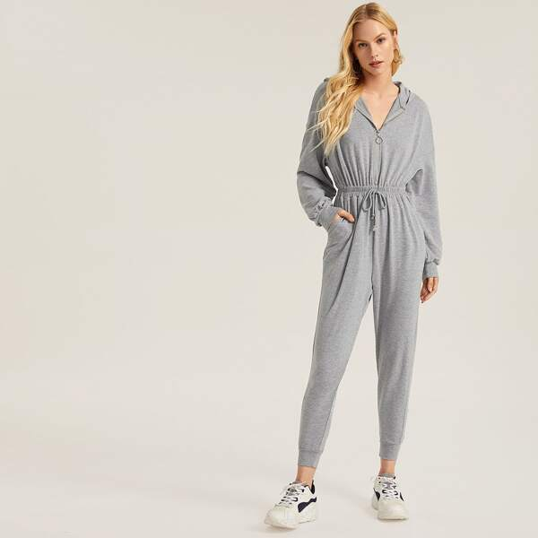Zip Up Tie Waist Heather Grey Hooded Jumpsuit
