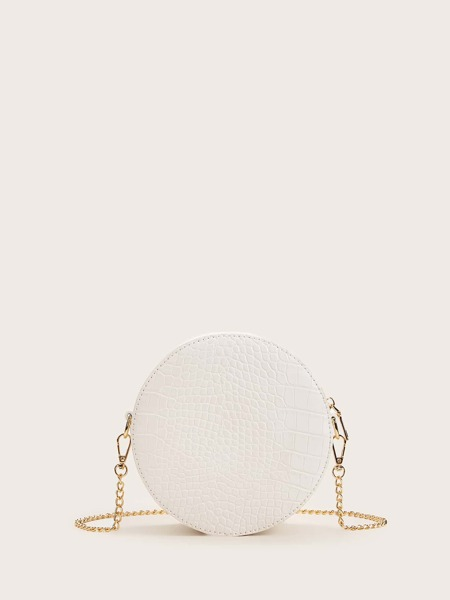 Croc Embossed Round Shaped Chain Bag