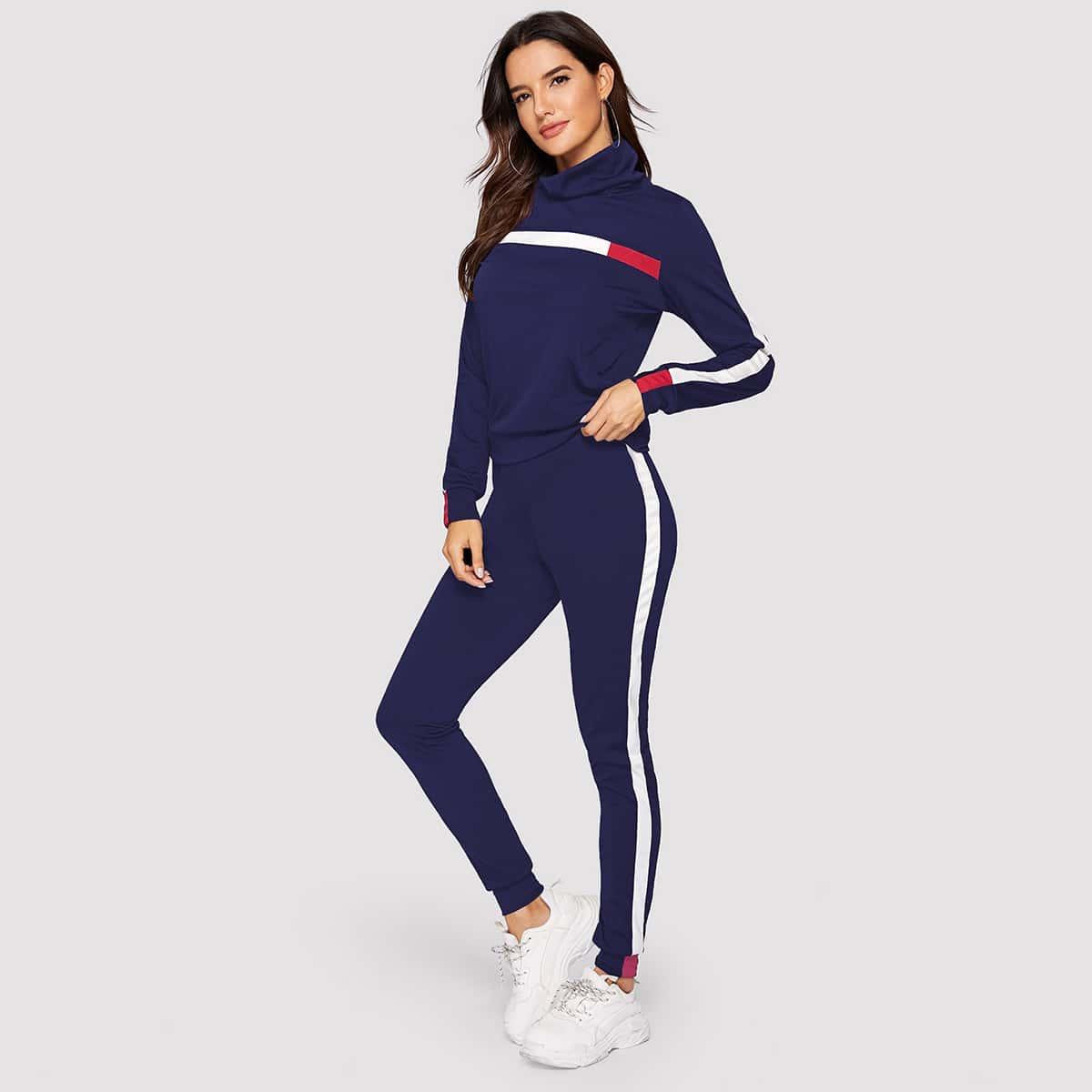 Спортивные брюки и контрастный свитшот с высоким вырезом от SHEIN