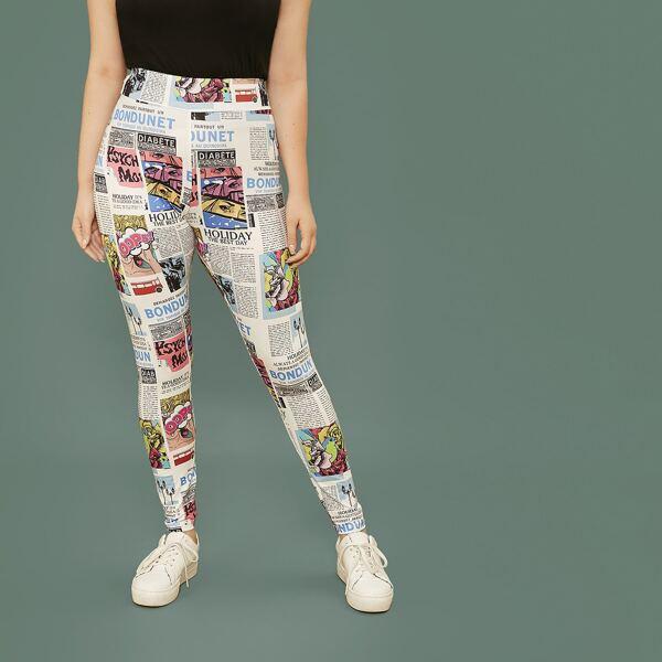 Plus Newspaper Print Wide Waistband Leggings, Multicolor