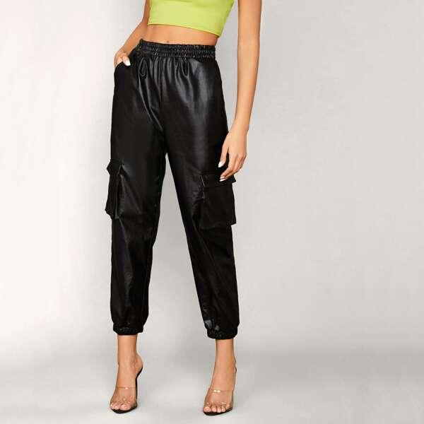Flap Pocket Side Faux Leather Cargo Pants, Black
