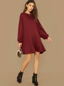 Sweatshirt | Lantern | Ruffle | Sleeve | Dress