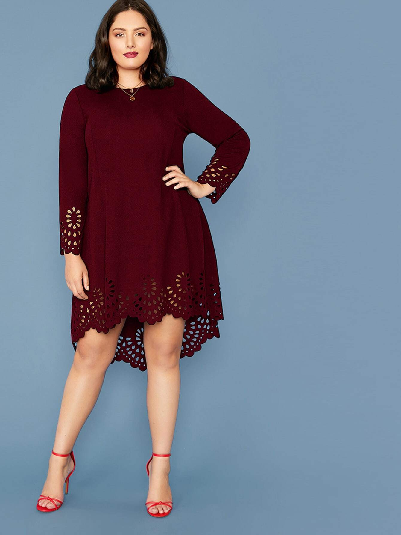 Plus Scallop Trim Laser Cut High Low Dress