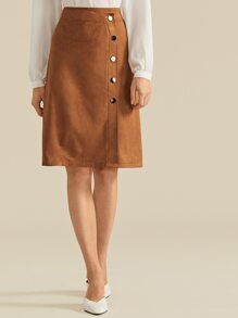 Button | Suede | Skirt | Wrap | Up