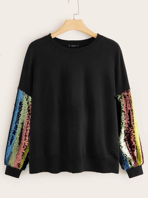 Plus Contrast Sequin Sleeve Pullover, Black