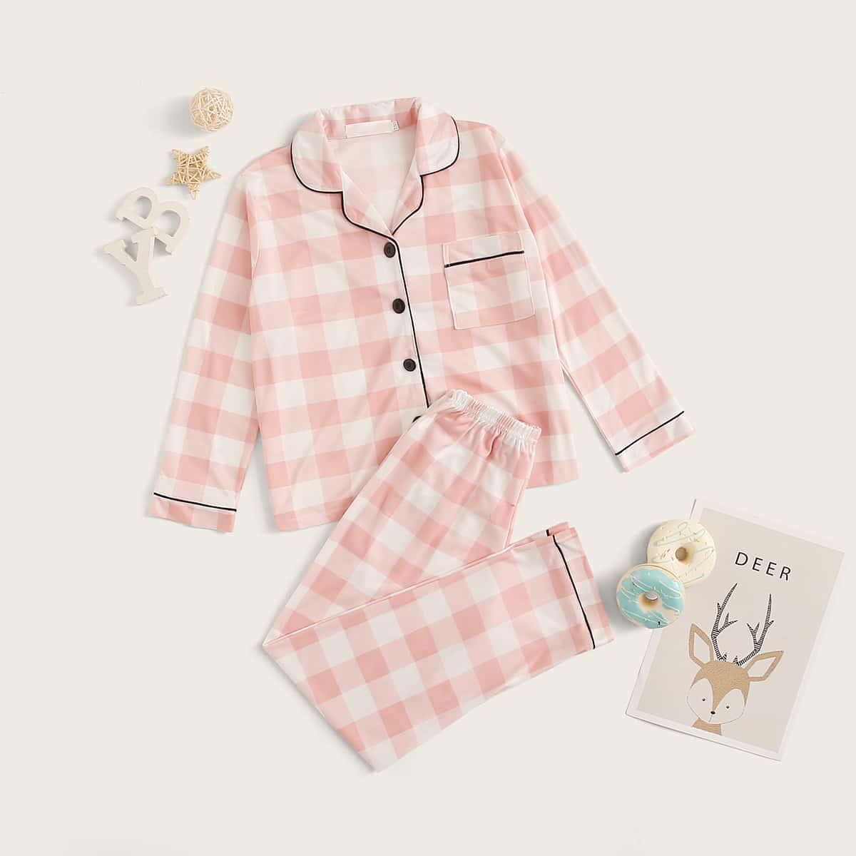 Пижама в клетку на пуговицах для девочек от SHEIN