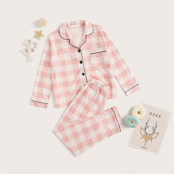 Girls Gingham Button-up PJ Set, Pink