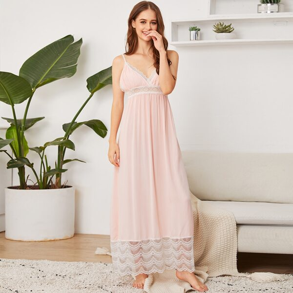 Contrast Lace Cami Night Dress, Pink