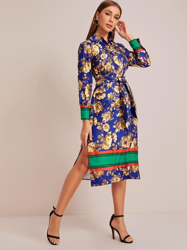 Floral Print Slit Hem Belted Shirt Dress, Multicolor, Hanna