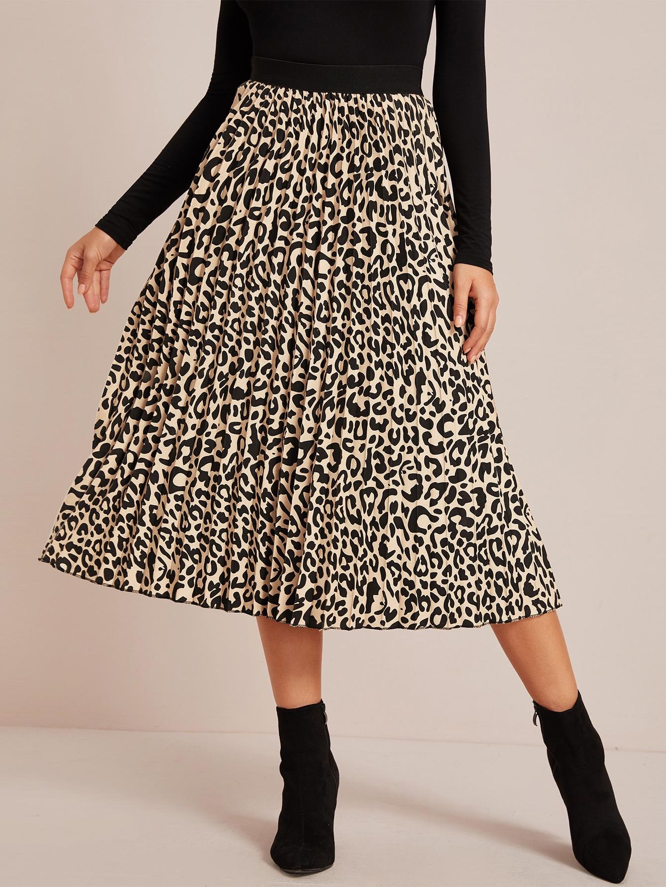 Плиссированная юбка с леопардовым принтом