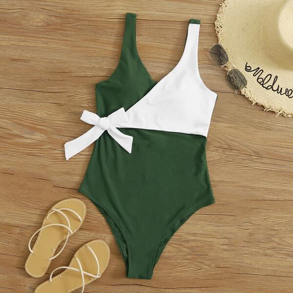 Two Tone Tie Waist One Piece Swimwear, Army green