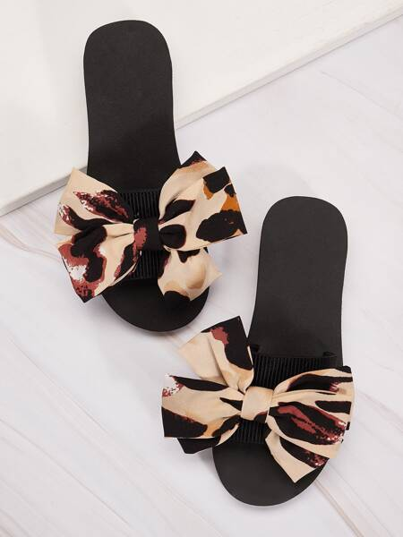 Bow Decor Open Toe Slippers
