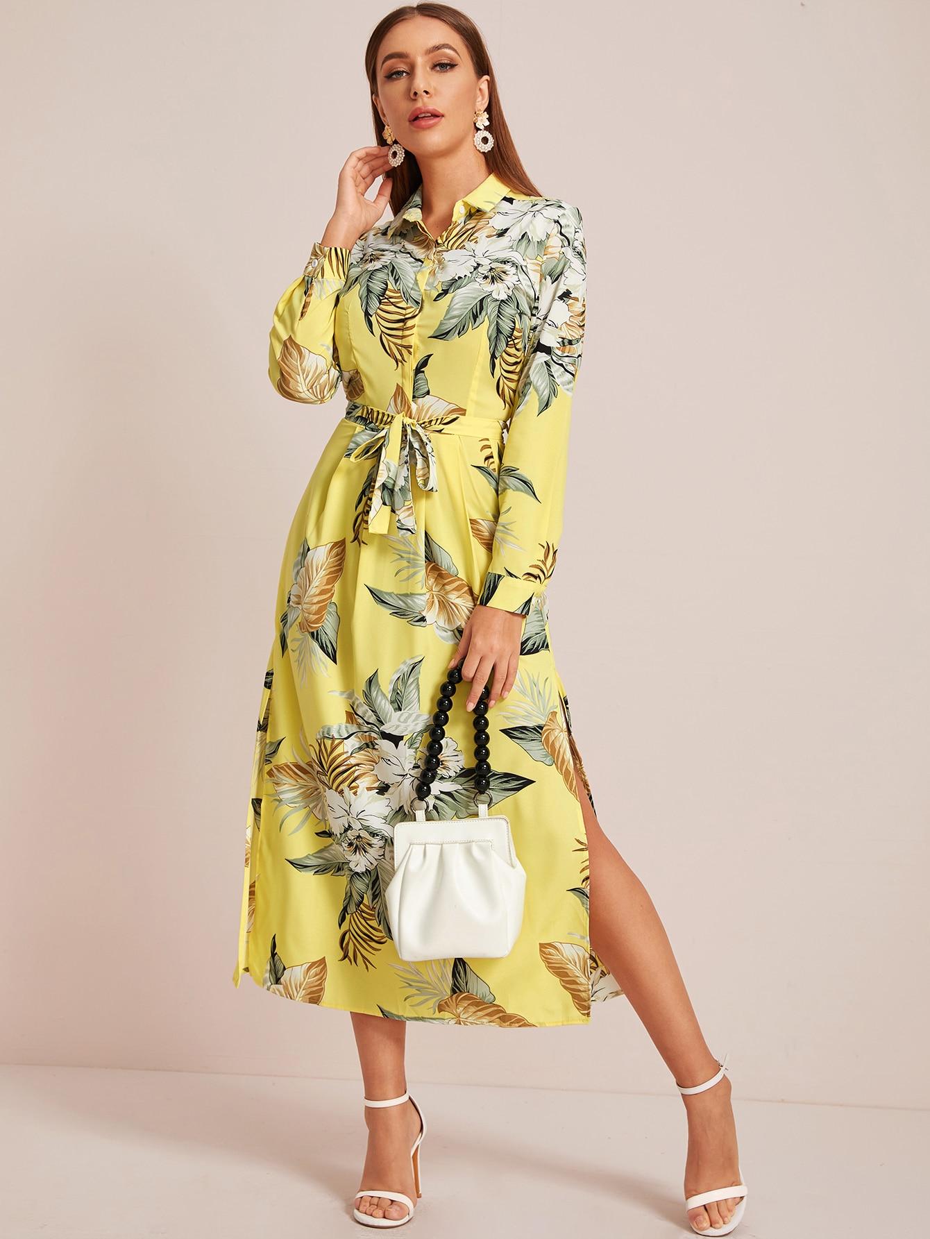 Платье-рубашка с поясом и цветочным принтом