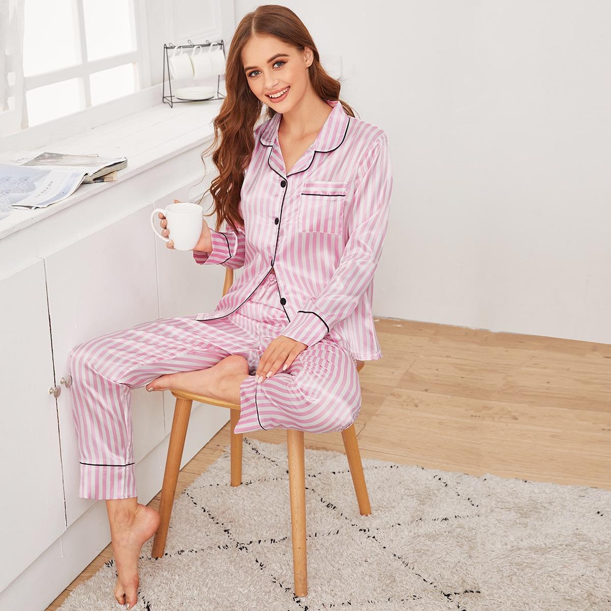 Атласная полосатая пижама на пуговицах от SHEIN