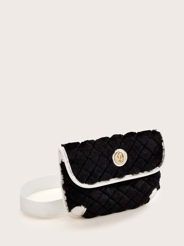 Contrast Piping Fluffy Fanny Pack, Black