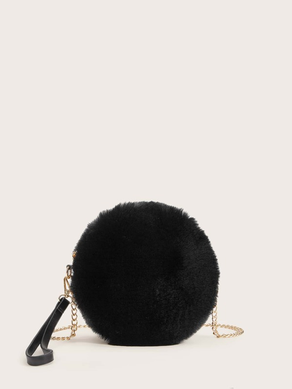 Faux Fur Fluffy Chain Bag With Wristlet