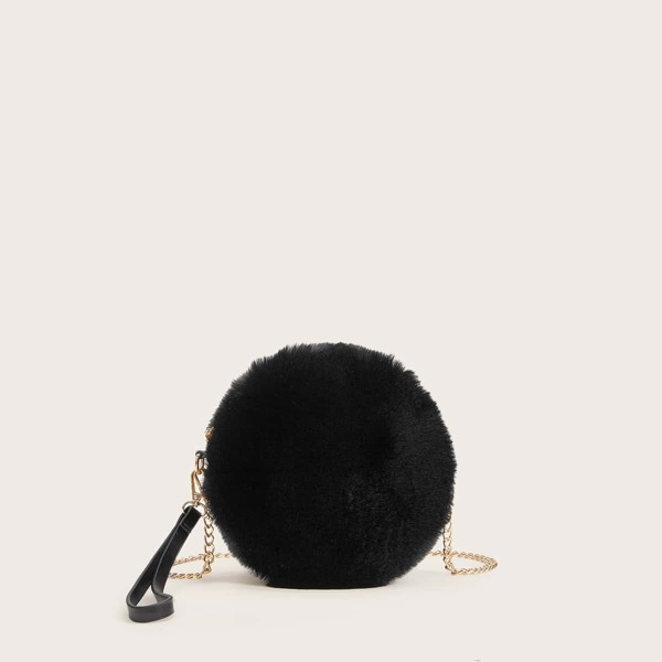Faux Fur Fluffy Chain Bag With Wristlet, Black