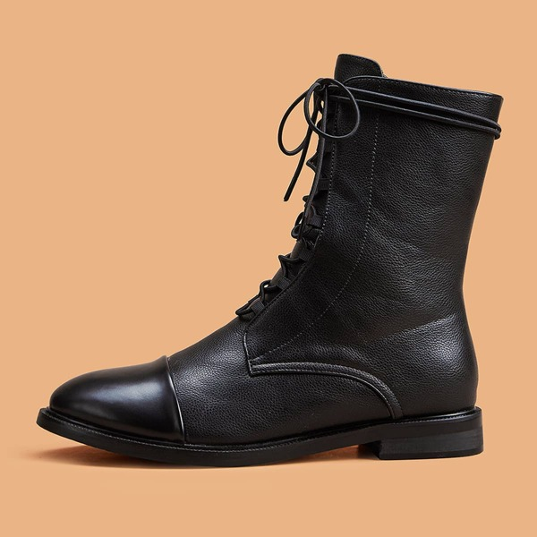 Lace-up Front Cap Toe Boots, Black