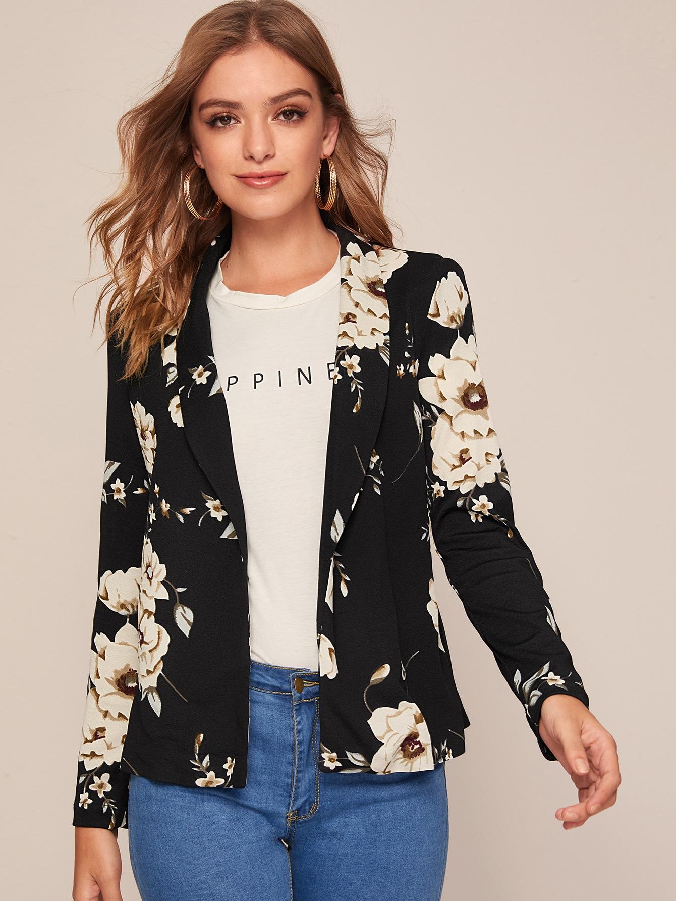 Цветочный пиджак с шалевым воротником