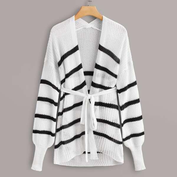 Plus Striped Self Tie Cardigan, White