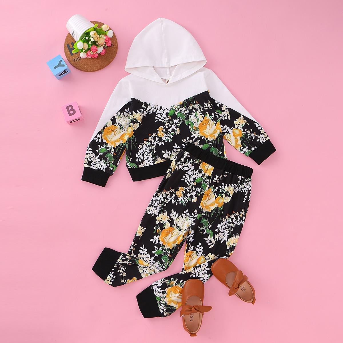 SHEIN / Vielfarbig Pflanzen  Lässig Kleinkind Mädchen zweiteilige Outfits