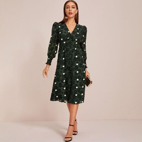 Covered Button Through Polka Dot Dress, Green