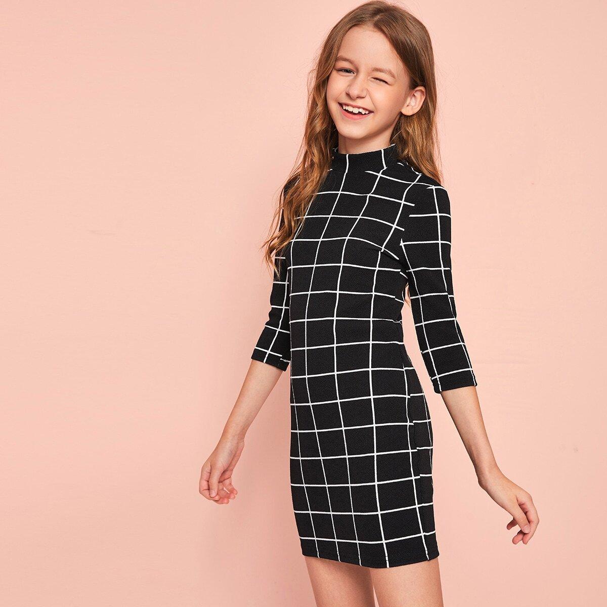 Облегающее платье в клетку с воротником-стойкой для девочек от SHEIN