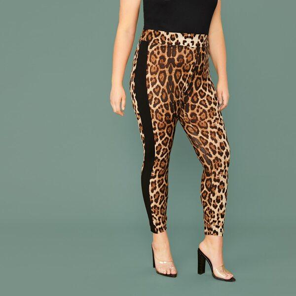 Plus Solid Sideseam Leopard Leggings, Multicolor