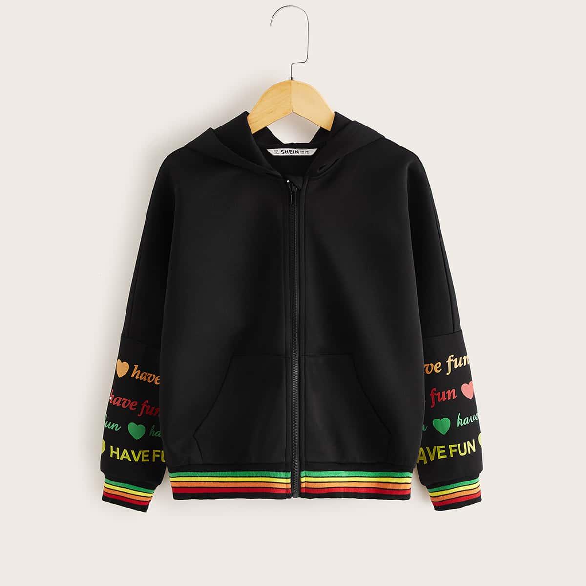 Куртка с оригинальным принтом и полосками для девочек от SHEIN