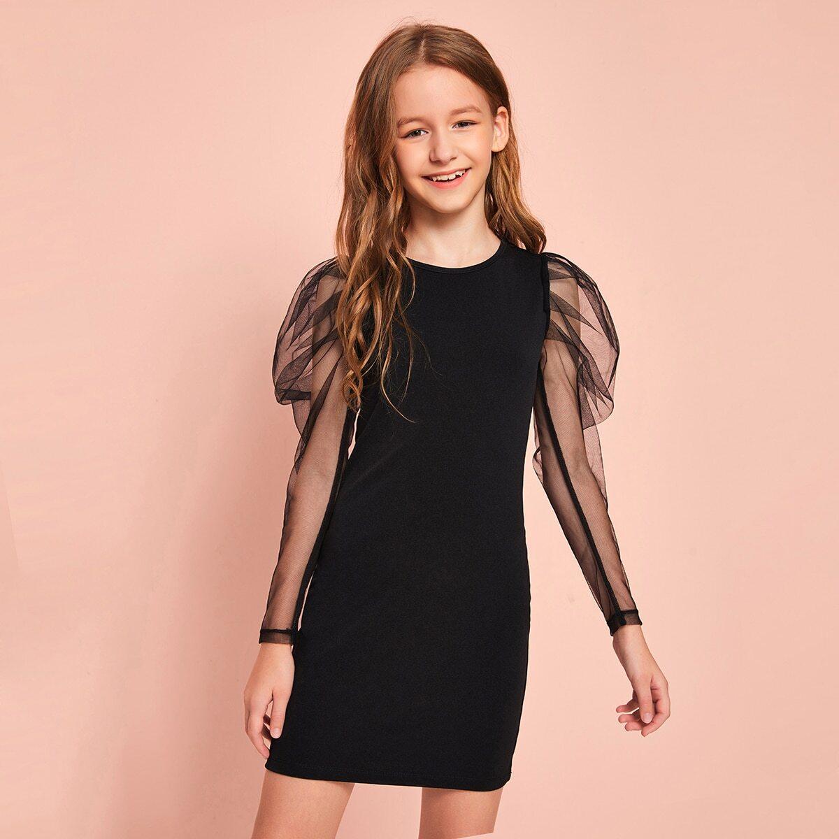 Облегающее платье с сетчатыми рукавами для девочек от SHEIN