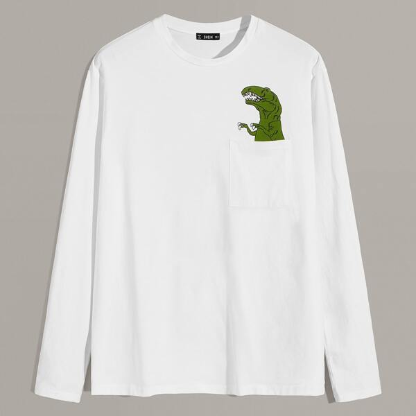 Men Dinosaur Print Pocket Patched Tee, White
