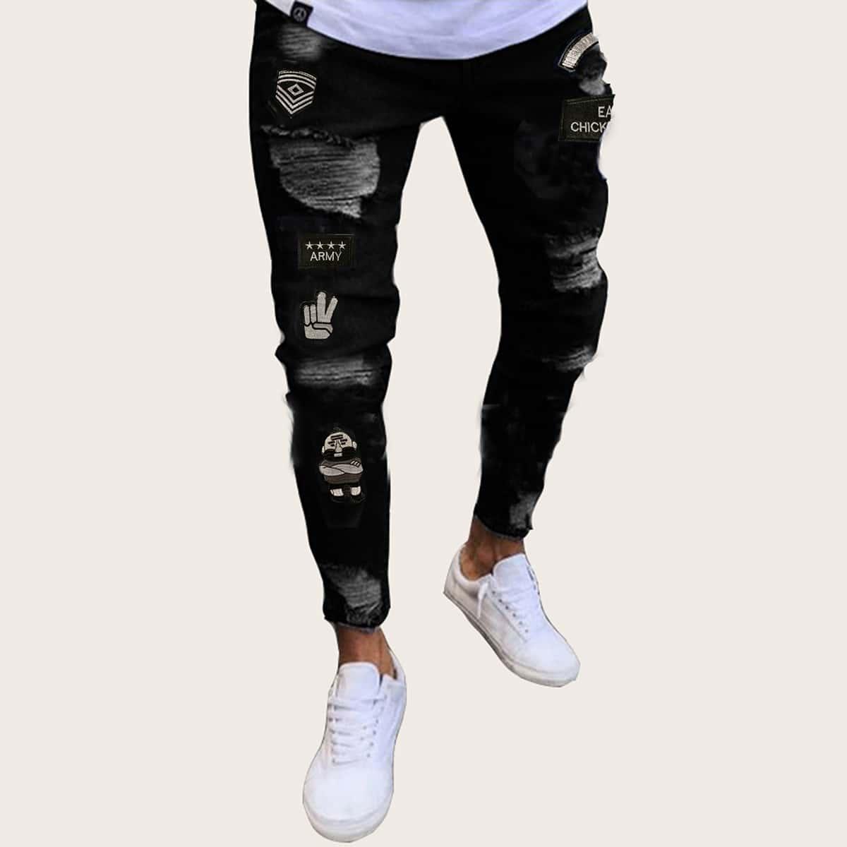Zwart Casual Grafisch Heren Jeans Gescheurd