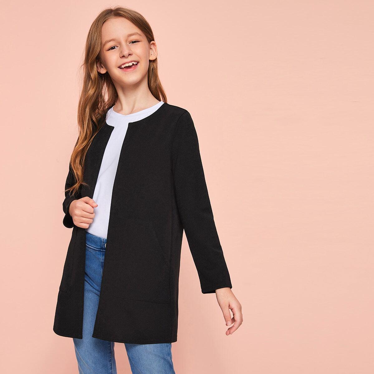 Пальто с карманом для девочек от SHEIN