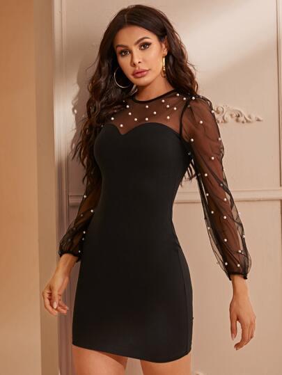 SheIn / Pearls Beaded Mesh Shoulder Bodycon Dress