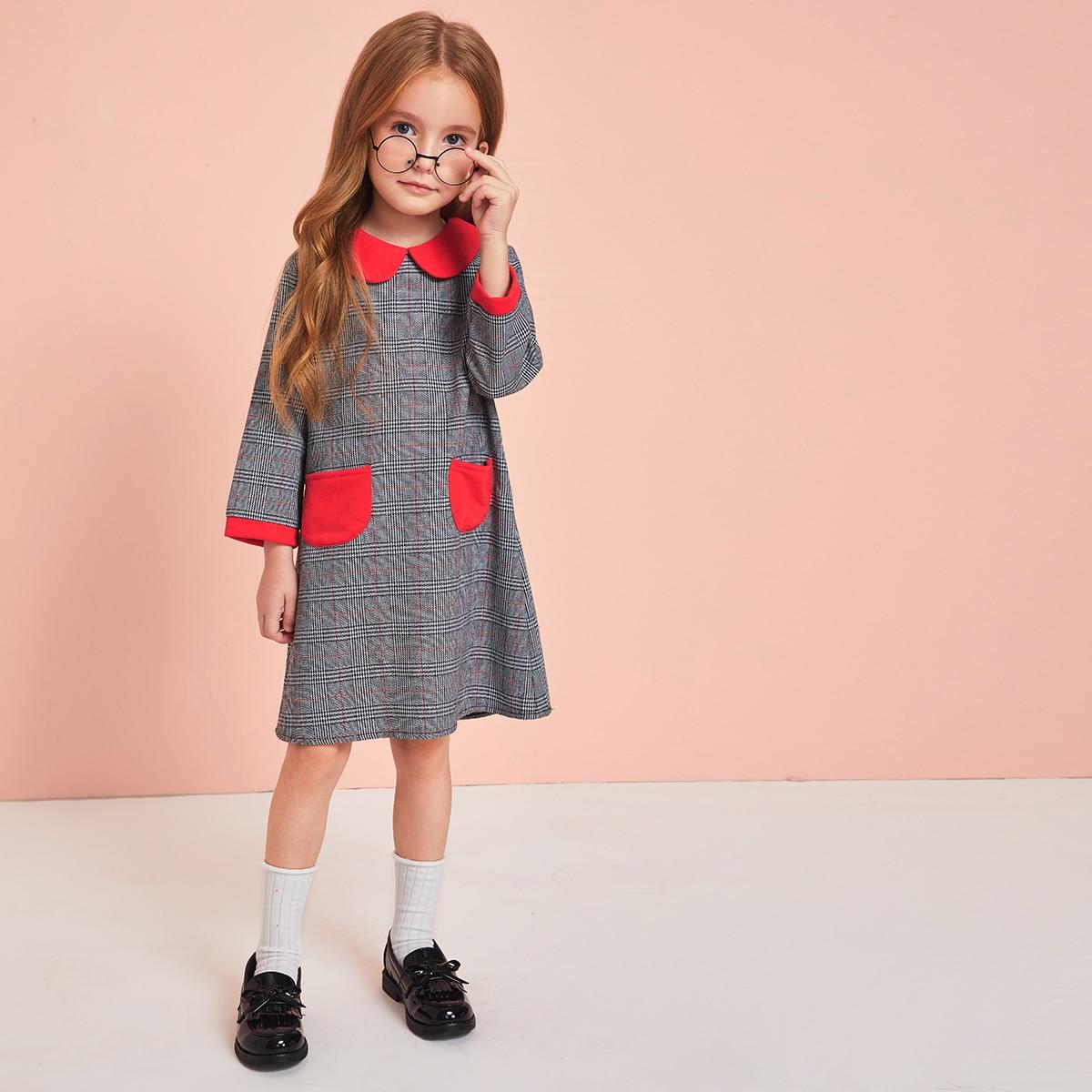 SHEIN / Kleinkind Mädchen Tunika Kleid mit Kontrast Einsatz und Karo Muster
