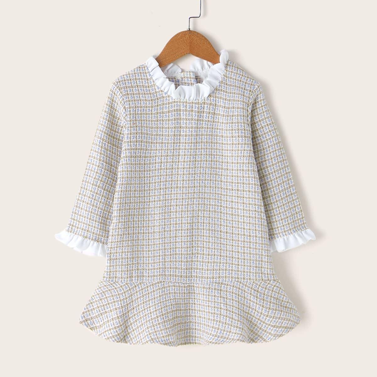 SHEIN / Vielfarbig Rüschen Kariert  Preppy Kleinkind Mädchen Kleider