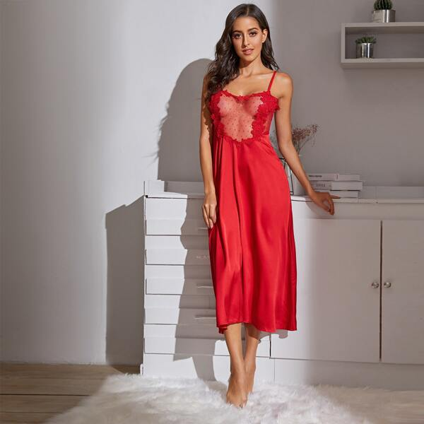 Contrast Lace Satin Slips With Thong, Red