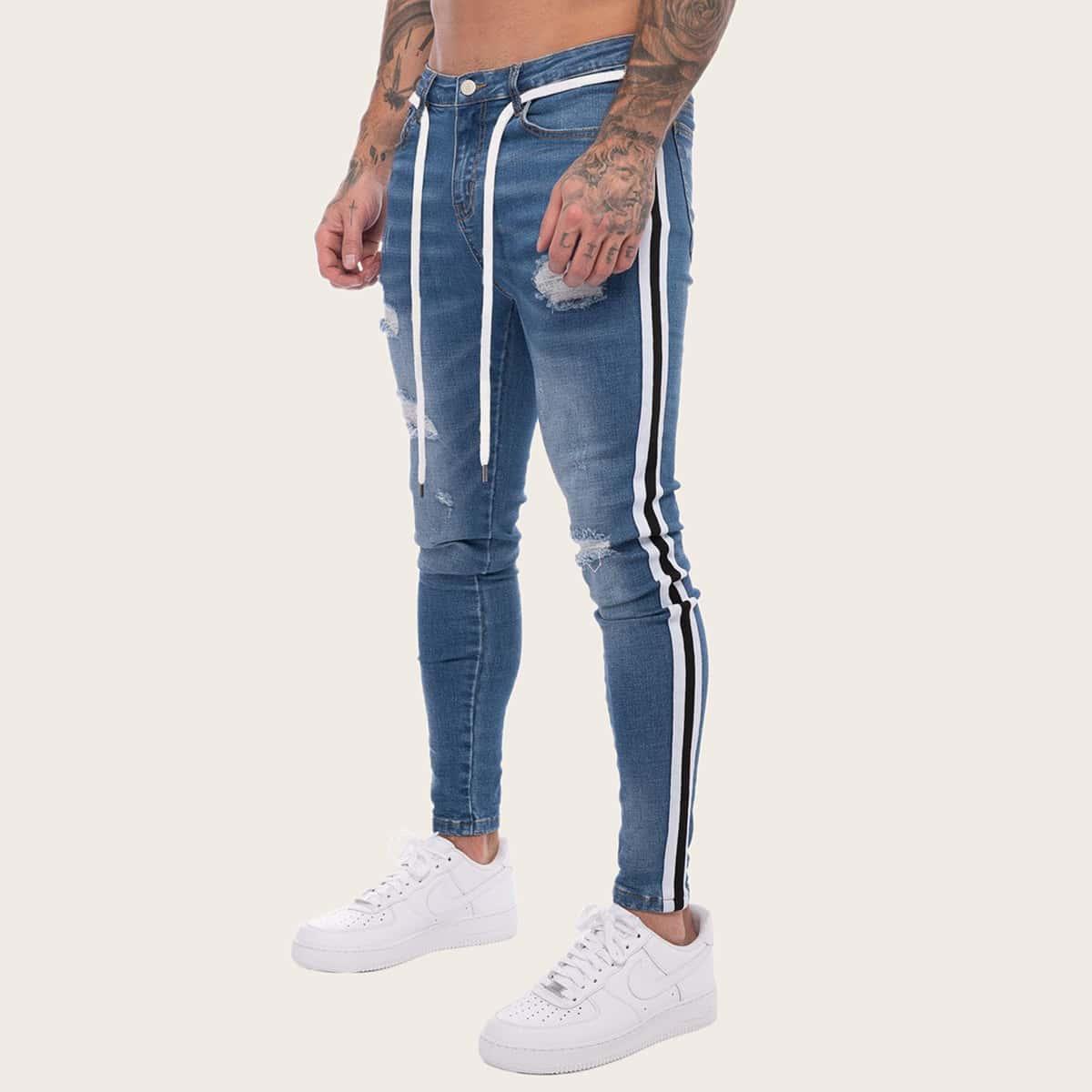 Blauw Casual Gestreept Heren Jeans Riem