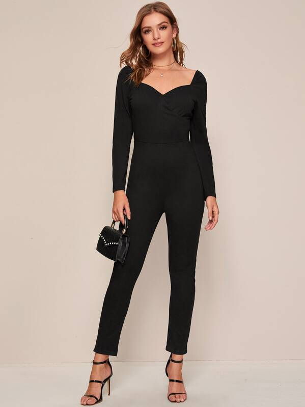 Sweetheart Zip Back Solid Jumpsuit, Black, Luiza