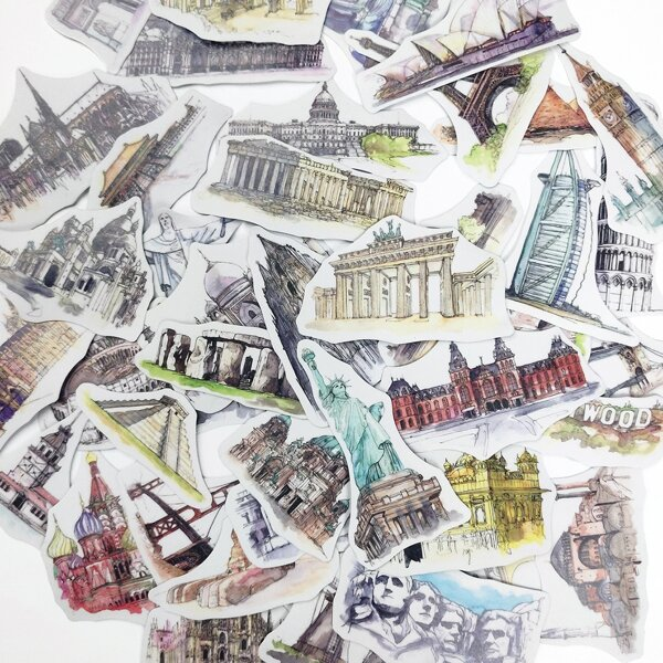40pcs World Landmark Building Print Sticker