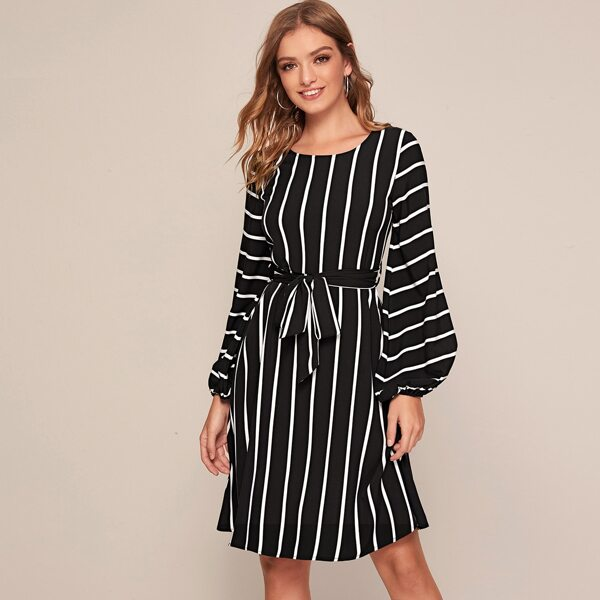 Striped Self Tie Bishop Sleeve Dress, Black